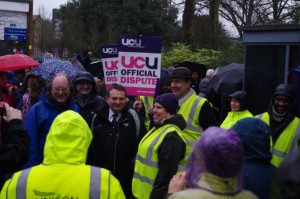 Malcolm Ace (Chief Operating Officer) comes out to speak with strikers